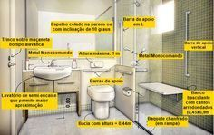 banheiro-idoso-acessibilidade Disabled Bathroom, Handicap Bathroom, Bathroom Floor Plans, Bathroom Toilets, Bathroom Flooring, Small Bathroom, Healthcare Architecture, Hospital Architecture, 6 Bedroom House Plans