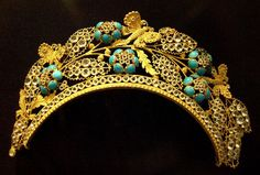 Frontlet (hair ornament), pinchbeck and paste, France, 19th century. Photo by Kotomicreations, via Flickr