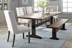 Discover the top-rated farmhouse dining room decor ideas for your rustic home. We love rustic dining room decorations and furniture and you will love this too. Mahogany Dining Table, Trestle Dining Tables, Solid Wood Dining Table, Dining Room Sets, Dining Table In Kitchen, A Table, Dining Bench, Wooden Kitchen, 8 Person Dining Table