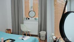 Żaluzje drewniane w kolorze chałwa, szare zasłony i cottoballs :)  Domowe Pielesze - Udekoruj swój dom <3