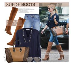 """""""Steal Reese's Suede Boots Style"""" by arethaman ❤ liked on Polyvore featuring Cheap Monday, Velvet by Graham & Spencer, Kendra Scott, The Row, Stealherstyle, CelebrityStyle, suedeboots and casualluxe"""