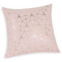 Grafische kussenhoes van roze katoen 40x40 | Maisons du Monde