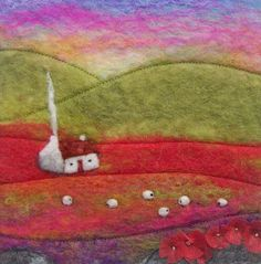 Felt Landscape with Cottage, Sheep and Poppies, £40 from AileenClarkeCrafts on etsy - beautiful work!