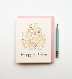 Floral Birthday illustrated drawing birthday card pastels cactus boho tribal southwestern chic happy calligraphy feminine pink blue yellow on Etsy, $4.50
