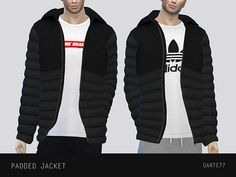 The Sims 4 Padded Jacket Sims 4 Men Clothing, Sims 4 Male Clothes, Male Clothing, The Sims 4 Pc, Sims Cc, Sims 4 Mods, Play Sims 4, Sims 4 Black Hair, The Sims 4 Cabelos