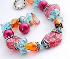 Lampwork Flower Bracelet Pink Orange Aqua by shalayneoriginals, $135.00