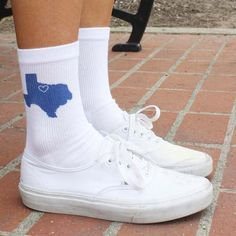 USA State Socks by SockprintsOnEtsy! Choose your state, design color and where you would like the heart printed on these custom state socks! Texas shown - 50 states available!