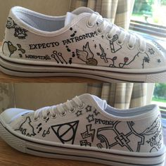 Items similar to Harry Potter Inspired (Minimalist) Hand Painted Converse / Cheaper Brand Canvas Shoes on Etsy - Hand painted Harry Potter inspired minimalist Converse lows. (Unofficial) shoes have various Harry - Sac Harry Potter, Bijoux Harry Potter, Harry Potter Shoes, Estilo Harry Potter, Harry Potter Outfits, Harry Potter Converse, Harry Potter Canvas, Harry Potter Clothing, Harry Potter Painting