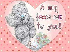 Hug from me to you Hugs And Kisses Quotes, Hug Quotes, Snoopy Quotes, Teddy Bear Quotes, Teddy Bear Hug, Cute Teddy Bears, Tatty Teddy, Hug Images, Good Night Love Quotes