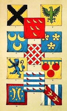 British mediaeval banners: 1) Banner of Sir John Botetourte. 2) Banner of Sir Ralph de Monthermer. 3) Banner of Sir Hugh Touches. 4) Banner of Sir William de Ridre. 5) Banner of Sir Hugh Bardolph. 6. Banner of Sir John de Holderton. 7) Banner of Sir Henri de Percy. 8) Banner of Sir Hugh de Courtenay. 9) Banner of Sir Aymer de Valence. 10) Banner of Sir John de Bar. 11) Banner of Sir William de Grandison