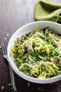 Looking to lightened-up your weeknight meals? Swap out those pasta noodles for nutritious zucchini noodles. Spiralized Zucchini Noodles (Zoodles) with Lemon Caper Butter Zucchini Zoodles, Zucchini Pasta Recipes, Zoodle Recipes, Vegetarian Recipes, Cooking Recipes, Healthy Recipes, Fun Recipes, Zucchini Noodles Spaghetti, Gourmet