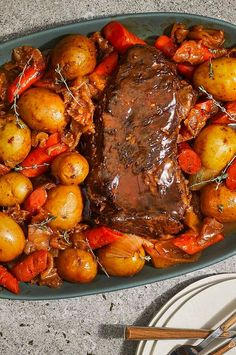 Tender chuck roast in a luscious, rich sauce is the star of this simple, no-fuss Instant Pot® recipe. Onions, potatoes, and carrots cook alongside the roast to absorb all of the great umami flavor from the sauce and serve as the veggie accompaniment to this tasty all-in-one dinner.#easy #easyrecipes #quickandeasy #easyrecipesideas #dinner #supper #easydinner #easydinnerideas #easysupper #easysupperideas