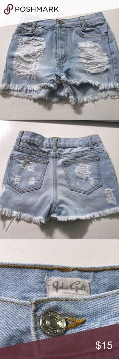 John Galt Ripped Denim Shorts Super cute and comfortable!! Great condition and next day shipping :) Brandy Melville Shorts Jean Shorts