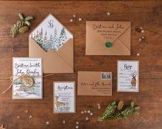 Winter Wedding Invitations with Wooden Magnet 4lovepolkadots #winterwedding #eco…