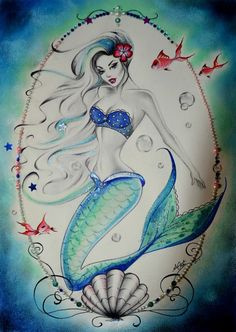 Mermaid by Anne Cha @annechafr - the kind of thing I would love for a tattoo! Perfect pose, and would be lovely to have a proper frame with pearls and shells etc surrounding it