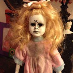 OOAK Creepy Small Girl Doll Pink Zombie no eyes Pajamas custom porcelain repaint