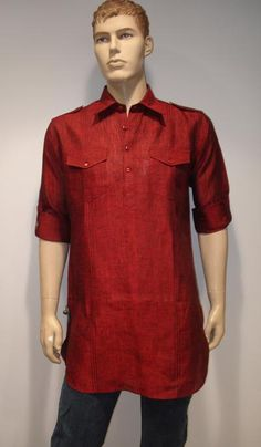 G3 Fashions Maroon Linen Short Pathani Kurta  Product Code : G3-MSP1012 Price : INR RS 1995