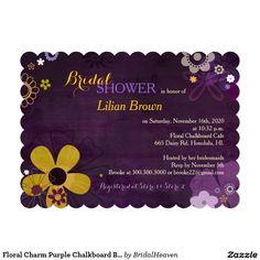 Floral Charm Purple Chalkboard Bridal Shower 5x7 Paper Invitation Card