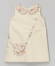 Beige Floral Purse A-Line Dress - Infant #zulily #zulilyfinds.  Love the Button detail, basic idea could be used to make a very pretty Necklace.