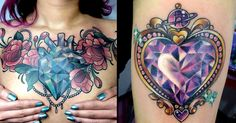 Colorful and sparkling crystal heart tattoos that you will definitely love.