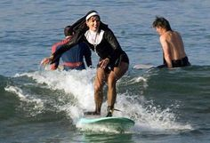 Nuns surfing the Pacific waves in Santiago. Chile