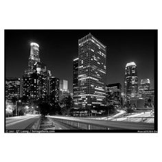 Bridge, traffic lights and Los Angeles skyline at night. Los Angeles,... ❤ liked on Polyvore featuring backgrounds