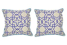 One Kings Lane - Taking Shape - Tuile 22x22 Cotton Pillow, Blue