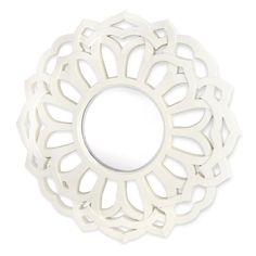 Contemporary Beveled Mirror in White Lacquer