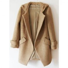 Stylish Hooded Solid Color Long Sleeve Woolen Coat For Women