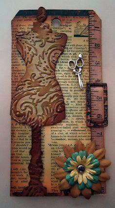 I'm gonna have to make me one of these large enough to frame. Tim Holtz, Card Tags, Gift Tags, Steampunk Cards, Sewing Cards, Handmade Tags, Vintage Tags, Artist Trading Cards, Tag Art