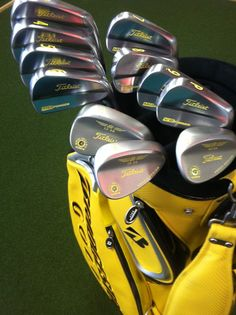 Titleist MB irons and Vokey wedges with custom yellow paint fill!
