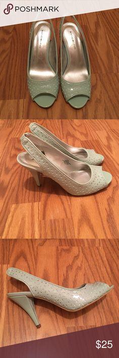 Never been worn Bandolino's Light teal/sea foam green color super cute peep-toe slingbacks Bandolino Shoes Heels