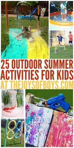 "25 Outdoor Summer Activities for kids – The Joys of Boys 25 Outdoor Summer Activities for kids I get so tired of hearing ""I'm bored!"" These 25 outdoor summer activities look perfect for entertaining kids as well as getting wet! Outside Activities For Kids, Water Games For Kids, Toddler Activities, Camping Activities, Water Activities, Camping Tips, Nanny Activities, Camping Jokes, Camping Places"