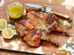 Get Grilled Spatchcocked Greek Chicken Recipe from Food Network