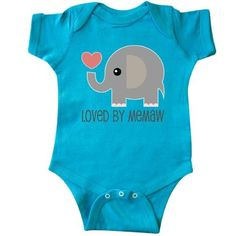 Inktastic Loved By Memaw Grandchild Infant Creeper Baby Bodysuit Gift From Grandma Idea Elephant Cute Childs Apparel Clothing Family One-piece Hws, Infant Boy's, Size: 12 Months, Blue