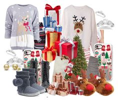 Christmas Eve & Christmas Day by grandmasfood on Polyvore featuring polyvore fashion style Boohoo UGG WithChic P.J. Salvage Muk Luks Allurez Casetify Frontgate Helen Moore clothing