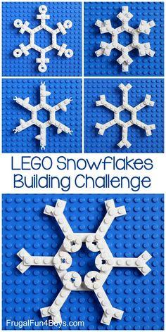 LEGO Snowflakes Building Challenge - a LEGO project for winter! - LEGO Snowflakes Building Challenge – a LEGO project for winter! Winter Activities For Kids, Winter Crafts For Kids, Winter Fun, Winter Theme, Winter Snow, Lego Club, Lego Girls, Lego For Kids, Lego Minecraft