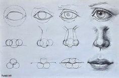 3D ART STREET ART MATERIAL ART FINE ART AND ALL: Helpful Eye Nose Mouth drawing