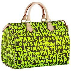 Louis Vuitton Steven Sprouse Graffiti Speedy ❤ liked on Polyvore featuring bags, handbags, purses, louis vuitton, man bag, handbag purse, purse bag and green purse