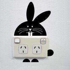 Muurstickers - Bunny wall sticker for power points - Een uniek product van Vinyldesign op DaWanda
