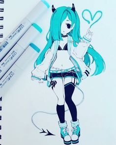 Manga Drawing Design Random design/OC idea, I'm still working on it because I want to add more details and change colours _(:з」∠)_ Have a good weeeeekend~ - Copic Drawings, Anime Drawings Sketches, Anime Sketch, Kawaii Drawings, Manga Drawing, Manga Art, Cute Drawings, Arte Copic, Copic Art