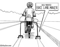 """Bikeyface: """"If you're tired of waiting on local governments to take action you can build your own bike infrastructure right now with this rear rack-mounted Bike Lane Maker!"""""""
