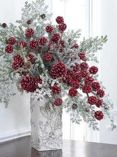 """WOW! Buy some """"snowy cedar branches"""" from craft store, add """"red pin cone branches"""" or cinnamon scented pinecones and just place in a gift-wrapped box for instance Christmas decorations for the holidays! Quick easy cheap party centerpieces too. DIY homemade inexpensive holiday decor"""