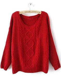 Red Round Neck Broken Stripe Cable Sweater #SheInside