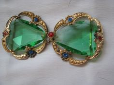 VINTAGE ANTIQUE ART DECO EMERALD GREEN CABS RHINESTONES BELT BUCKLE