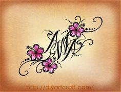 hibiscus tattoo with letters - Google Search