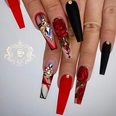 40 Lovely Rose Nail Art Designs to Fall In Love With - Suit Tutorial and Ideas Rose Nail Art, Rose Nails, Rose Nail Design, Fancy Nails, Bling Nails, Red Stiletto Nails, Coffin Nails, 3d Nails, Nail Swag