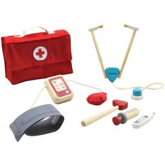 Pretend play as a real doctor and take care of your friends using this professional-like doctor set from Plan Toys! The set teaches Baby Wallpaper, Baby Toys, Kids Toys, Plan Toys, Islamic Gifts, Green Toys, Eco Friendly Toys, Non Toxic Paint, Wooden Coasters