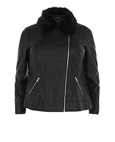 Plus Size Black Faux Fur Collar Biker Jacket  | New Look