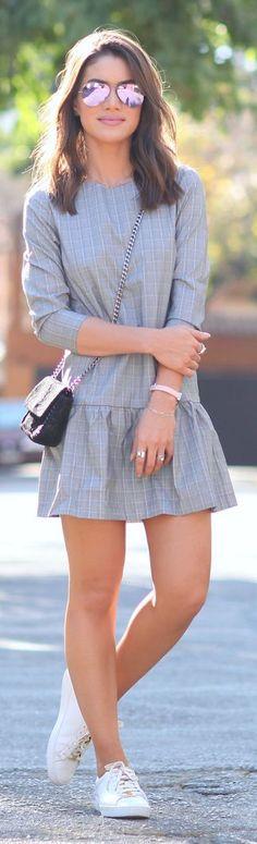 Camila Coelho Grey Ruffled Edge Drop Waist Little Dress